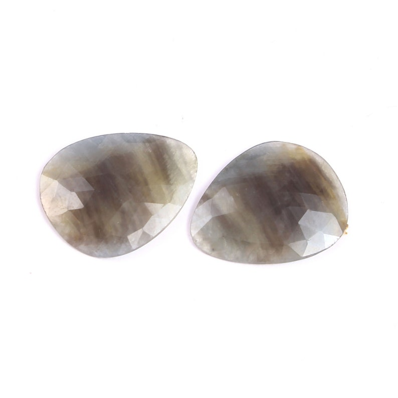 Pair 2 Pieces Bluish-Gray Sapphire uneven Pear shape Rose cut Faceted Natural Bluish-Gray Sapphire uneven rose cut gemstone for jewellery