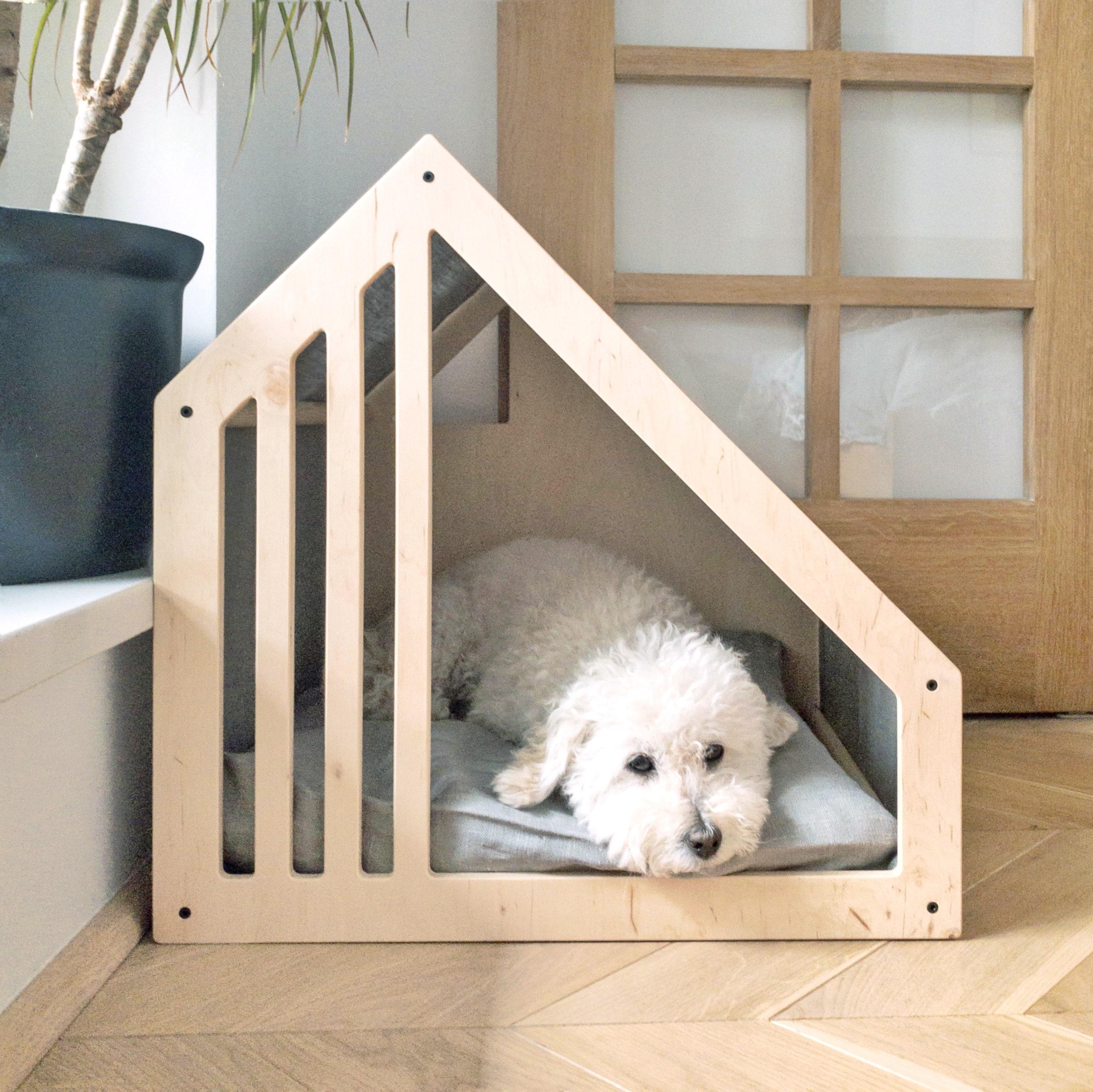Современная крытая кровать собаки кошка кровать, 100% льняная натуральная ткань, сарай дом, скандинавский питомец кровать, собака подарок