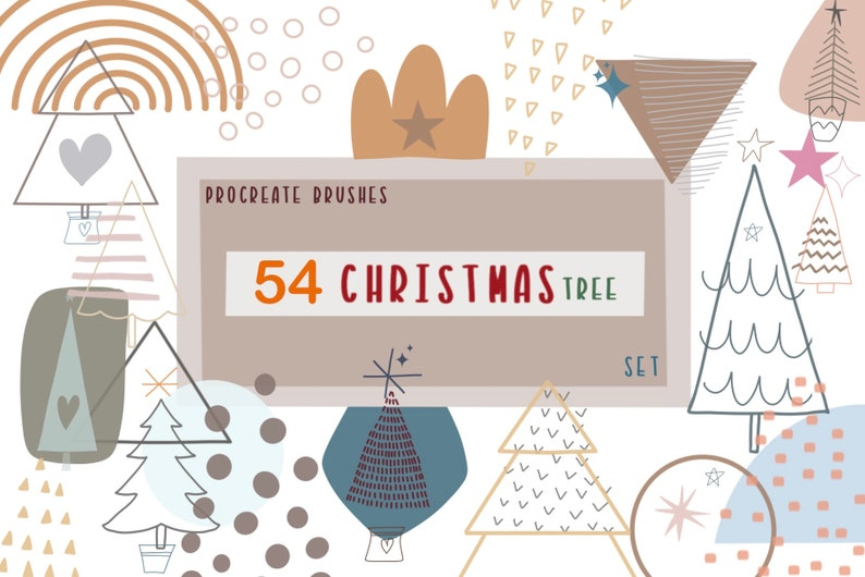 Procreate Brushes 54 Christmas Tree | Etsy