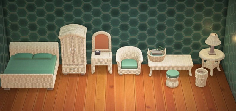 Rattan Furniture Set Any Color Animal Crossing New | Etsy