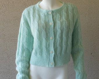 Vintage Cropped Cardigan Sweater Soft Aqua Size M/L