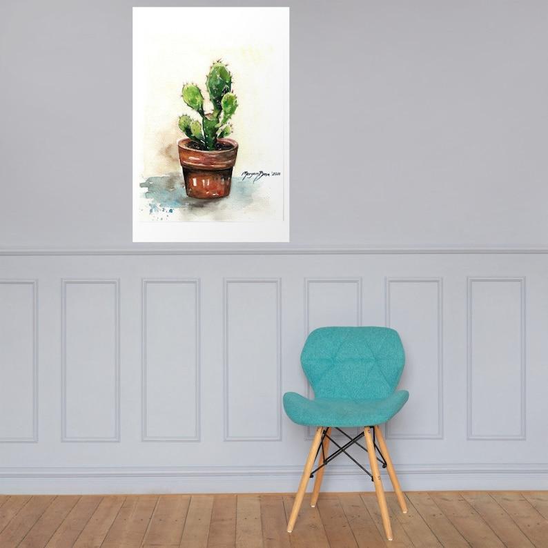 Watercolor Cactus PRINT Poster
