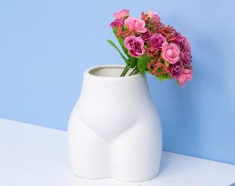 Modern Butt Vase, White Ceramic Vase, Ceramic Vases for Flowers, White Vase, Modern Home Decor, Butt Decor