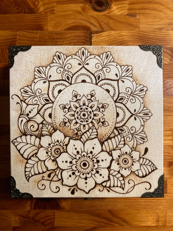 Mandala Pyrography Wood Burning Jewelry Box Etsy
