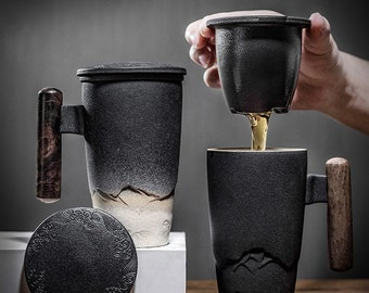 Ceramic black mug tea cup pot with Wooden handle in 2 Colors with Tea Strainer