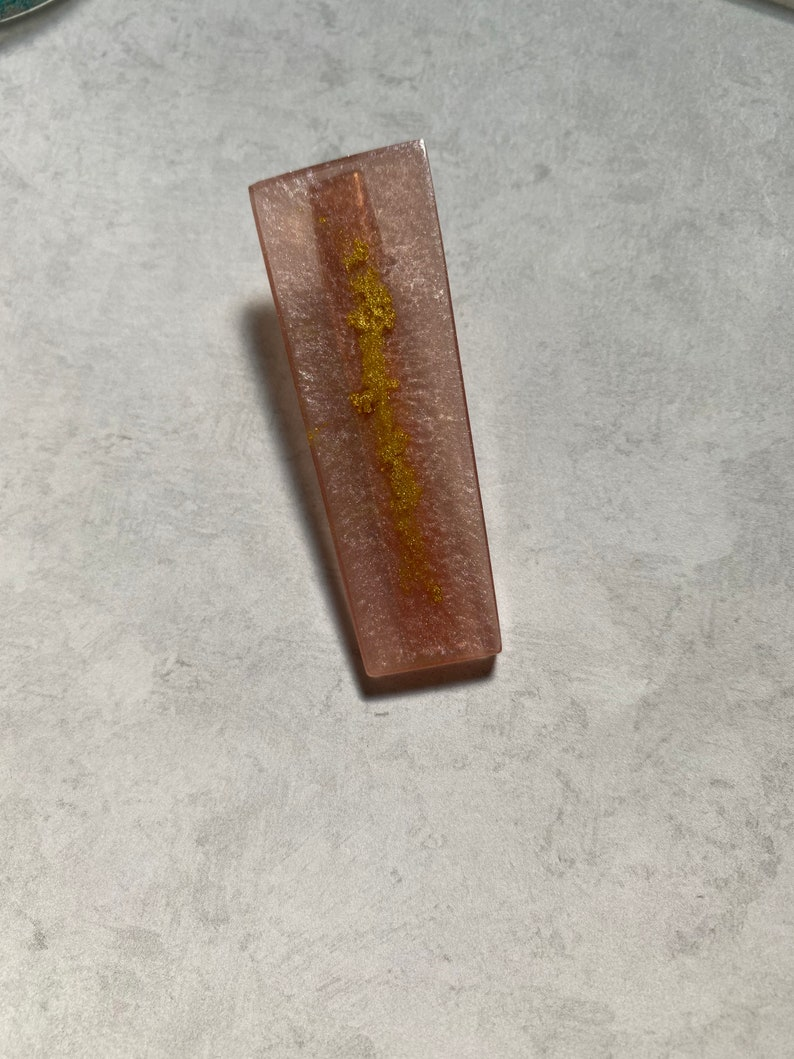 Apricot with Metallic Gold Accent Epoxy Resin Hair Clip