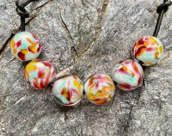 Set of 7 Barrel Beads Artisan Lampwork Handmade Lampwork Beads Glass Beads Cylindrical Beads Hawaiian Escape Barrel Beads