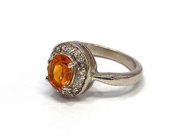 BEAUTIFUL Citrine /& CZ 925 Sterling Silver Solitaire RingFor WomenHandmade Silver JewelryDesigner Silver Gemstone Solitaire Ring