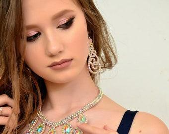 Belly Dance Rhinestone Drop Earrings Ballroom Dance Magic Crystal Earrings Oriental Festival cutout lace earrings Dance Competition Earrings