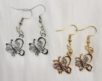 made with nickel freehypoallergenic hooks. crystal butterflies Lightweight Earrings