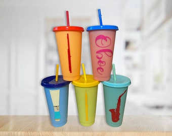 Custom Woodwind Color Changing Cup, Flute, Clarinet, Oboe, Bassoon, Alto Saxophone, Tenor Saxophone, Reed, Lid, Straw, Personalized