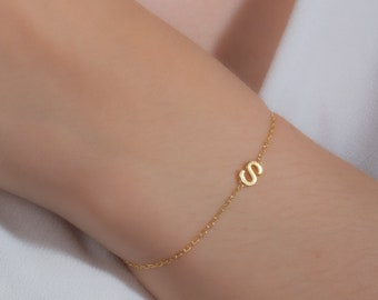 Valentines Day Gift for Her, Initial Letter Bracelet Personalized Sterling Silver Bracelet Mothers Day Gift Rose Gold Letter Bracelet