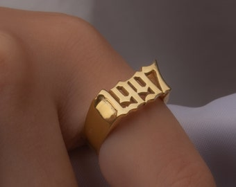 Stackable Year Ring Unisex Date Rings Number Ring Old English Ring  Gift For Her Custom Year Ring Year Ring Gold Birth Year Ring