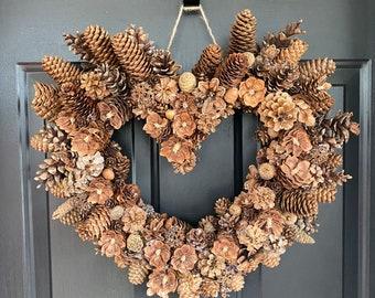 Heart shaped Full pine cone wreath