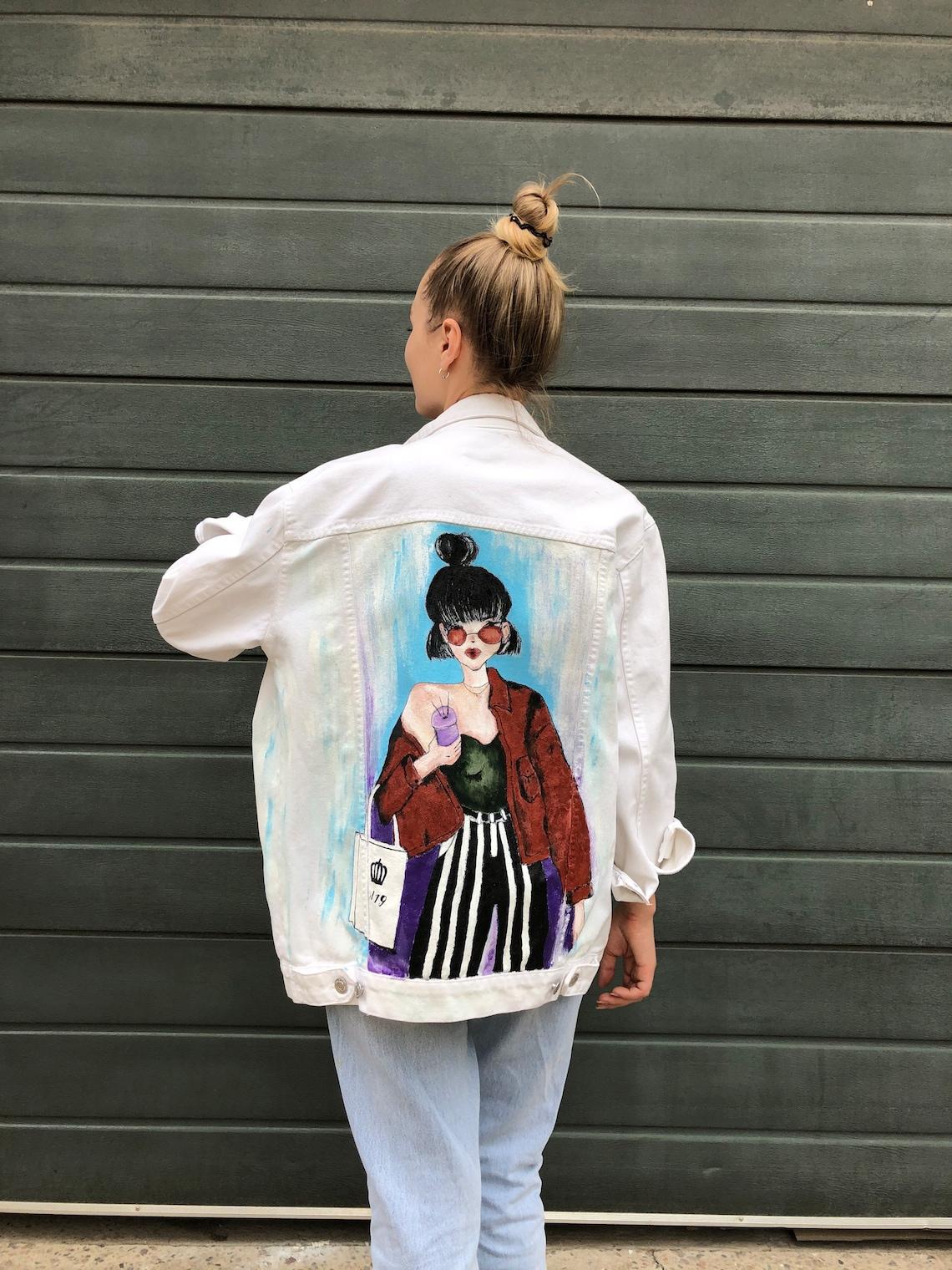 Hand Painted Denim Jean Jacket Clothing Acrylic Handmade Girl Style Vintage Coat Style Fashion Jeans