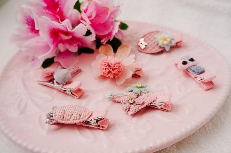baby fringe clip SET of 6 Cute bunny ear hair clip cute bunny and carrot clip set for baby and toddler pink floral fabric fringe clip