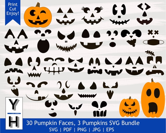 30 Pumpkin Face SVG Bundle  Cute Jack O Lantern PNG bundle
