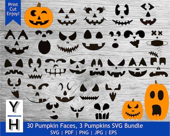 30 Pumpkin Face SVG Bundle  Cute Jack O Lantern PNG bundle