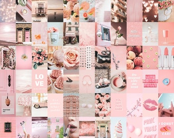 Pink Collage Computer Wallpaper Pink Collage Kit Etsy pink collage kit etsy