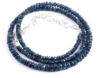 NATURAL BURMA Blue Sapphire Faceted Rondelles 4-3mm Super Wholesale Price 14 Inches Necklace