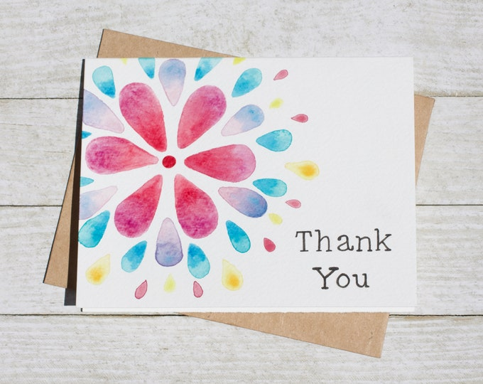 Watercolor Thank You Card Thoughtful Thank You Hand Painted Cute Card- Gift