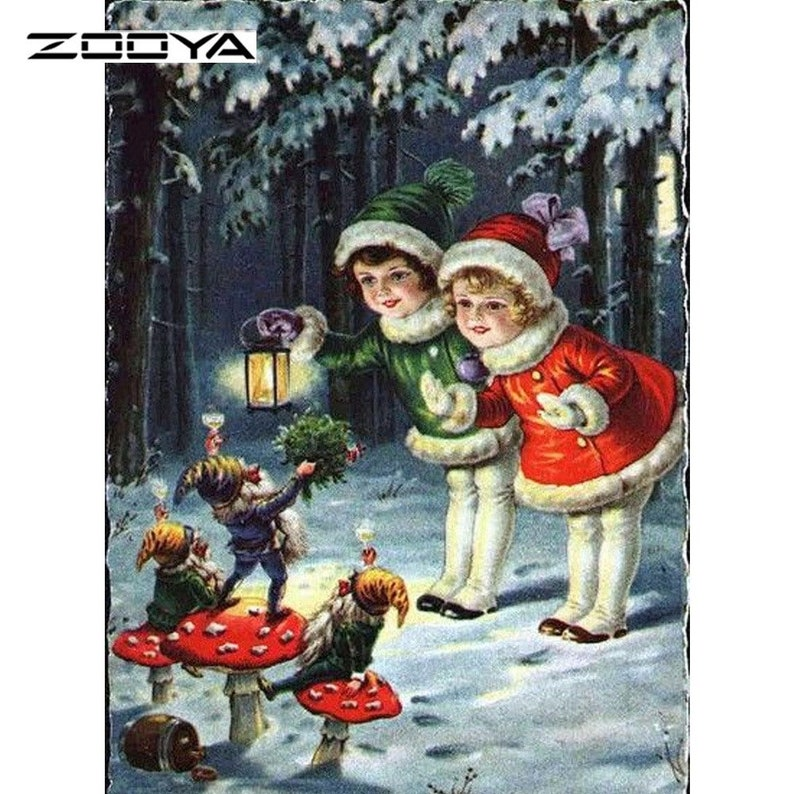 DIY Diamond Painting Kit Children with Elves Full Coverage Square Drill 30x40cm