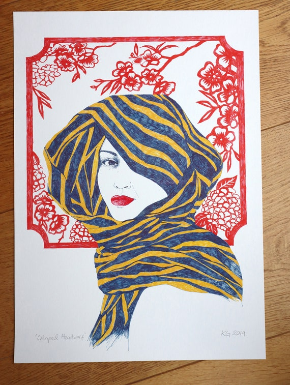Art Print of a head study with Stripey scarf