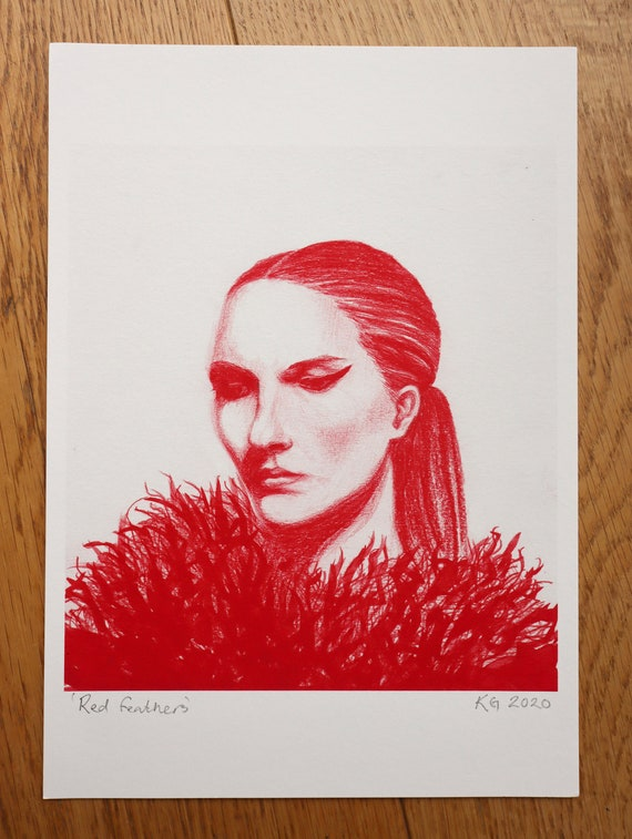 Art print of hand drawn with colored pencil of lady and feathers