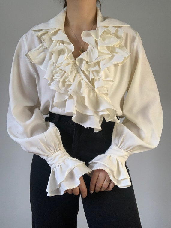 White ruffle blouse vintage women's blouse with lo