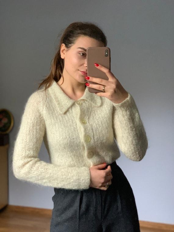 Original pale ivory, wool, Vintage mohair sweater… - image 7