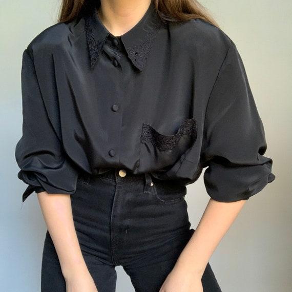 Vintage black embroidered blouse