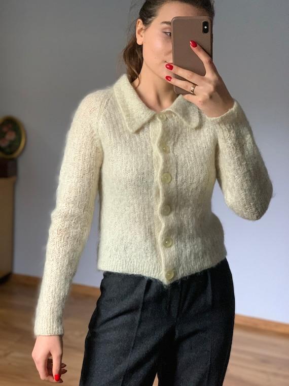 Original pale ivory, wool, Vintage mohair sweater… - image 2