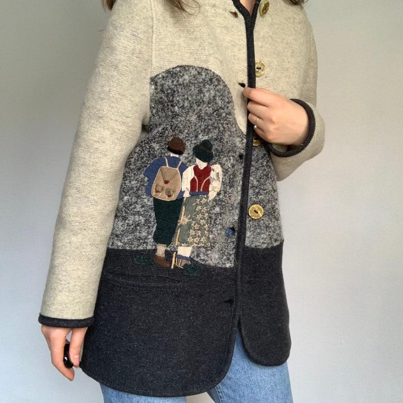 80s Coat Giesswein Austrian Novelty Print 3D Scenic Girl Boy Lambs Trachten Boiled Wool Jacket Vintage Austrian Cardigan