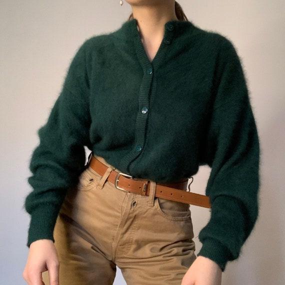 Vintage angora Cardigan, Green Sweater , oversized