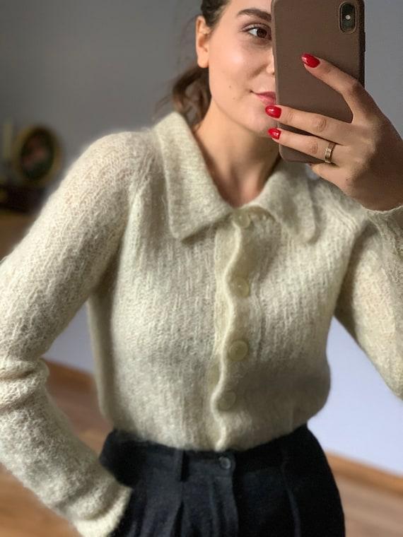 Original pale ivory, wool, Vintage mohair sweater… - image 1