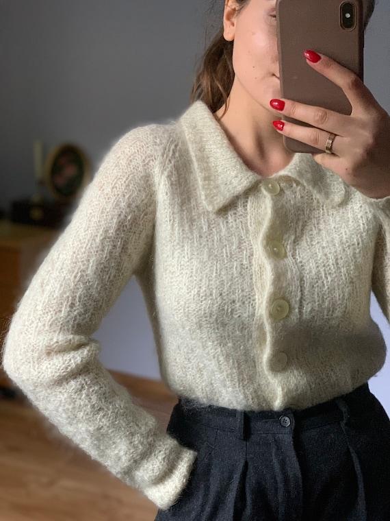Original pale ivory, wool, Vintage mohair sweater… - image 6