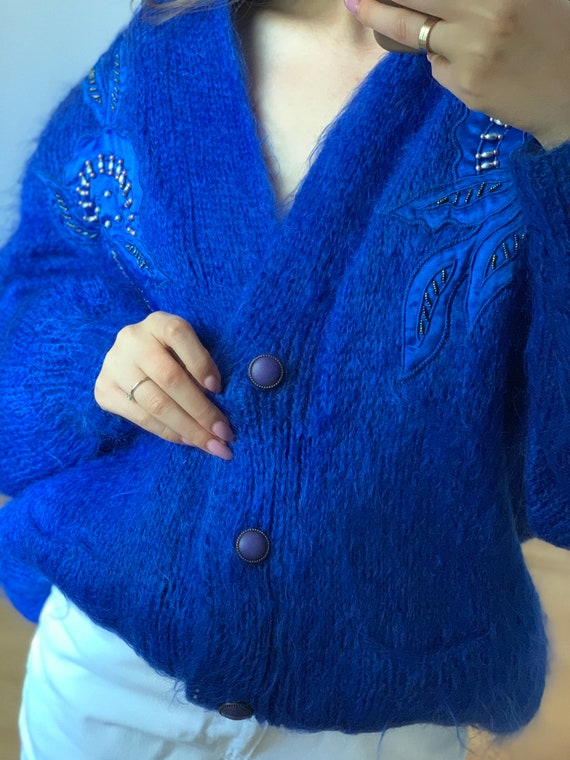 Vintage Hand Made Cardigan, Mohair Cardigan , Blue