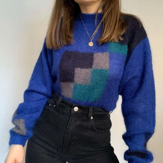Vintage blue mohair sweater