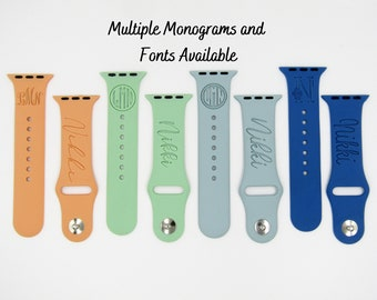 Monogrammed Apple Watch Band with Name   Personalized Apple Watch Band   Custom Apple Watch Band   S/M Band   M/L Band   38mm 40mm 42mm 44mm