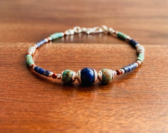 Coral Dainty Lapis Lazuli Turquoise and Sterling Silver bracelet