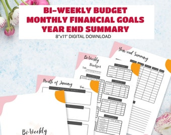 Bi-Weekly Budget Planner, Monthly Financial Goals, Year-end Summary - PDF Digital Download - Printable