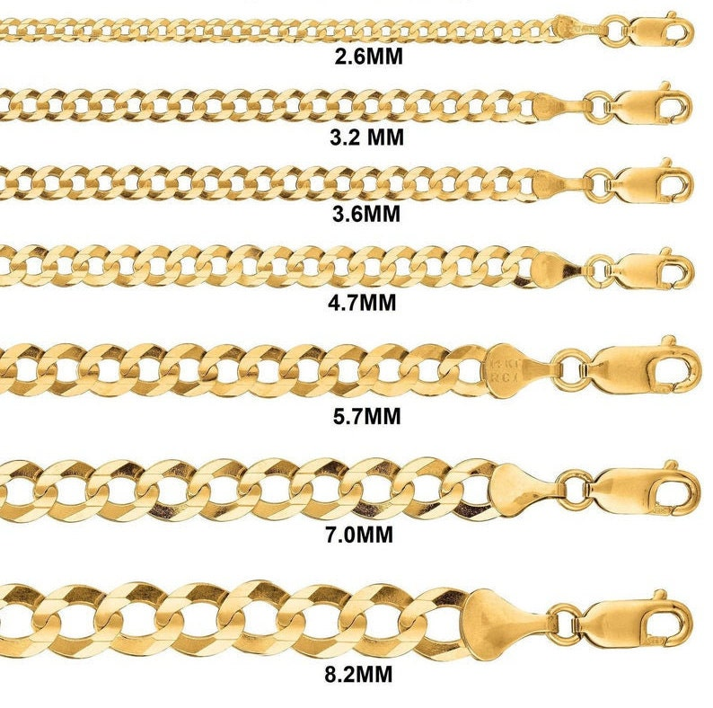 Flat Curb Chain 2.6mm-8mm SALE* Over 925 Sterling Silver Size 16-30 MenWoman Miami Cubin Chain 14K Gold