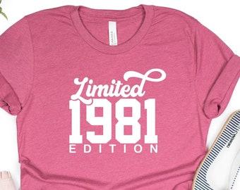 40th birthday shirt, Limited Edition 1981, 40th Birthday Gift, Retro Birthday Shirt, Custom Year birthday, 40 years old shirt, Vintage 1981