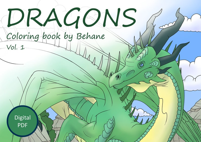 Dragons. Coloring Book. Vol 1. Behane. 10 Coloring Pages. Etsy