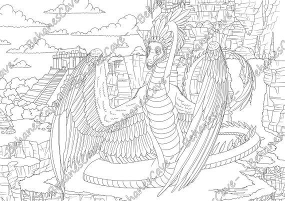 - Amphiptere. Dragons. Coloring Book. Vol 1. Digital PDF Etsy