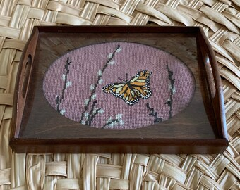 Vintage 70s Cheinco Butterfly Floral Patio Chair Side Tray With Box