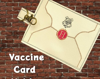 Magic school acceptance letter vaccination card protector. Attach to purse, bag, backback or beltloops Vinyl, cork, leather.