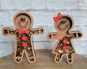 Christmas Winter Gingerbread Man Woman Boy Girl Sprinkle Shaker Sign