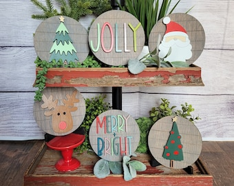 Christmas Tiered Tray Wood Sign Set Bundle-Six pieces in FULL SET PURCHASE (decor, tray and props not included)
