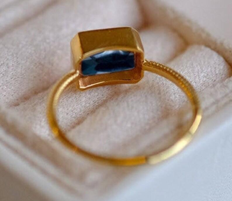 London Blue Topaz Engagement Ring Emerald Cut Topaz Wedding Ring 14k Gold Blue Topaz Anniversary Ring Unique Topaz Promise Ring For Women